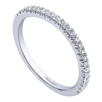 WEDDING - 14K White Gold Slightly Contoured Pave Diamond Wedding Band #306B