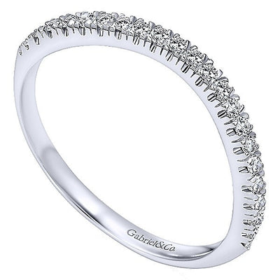 WEDDING - 14K White Gold Split Prong Contoured 1/6cttw Diamond Wedding Band