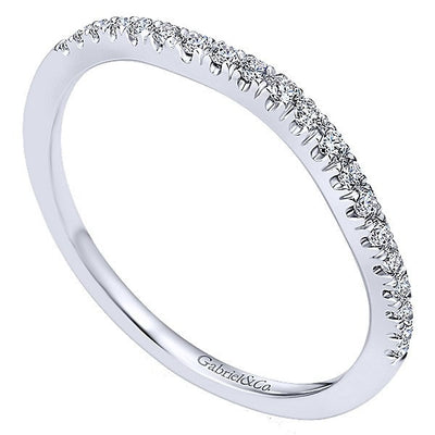 WEDDING - 14K White Gold Split Prong Contoured Diamond Wedding Band