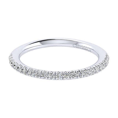 WEDDING - 14K White Gold Straight 1/4ct Pave Set Diamond Wedding Band #307B