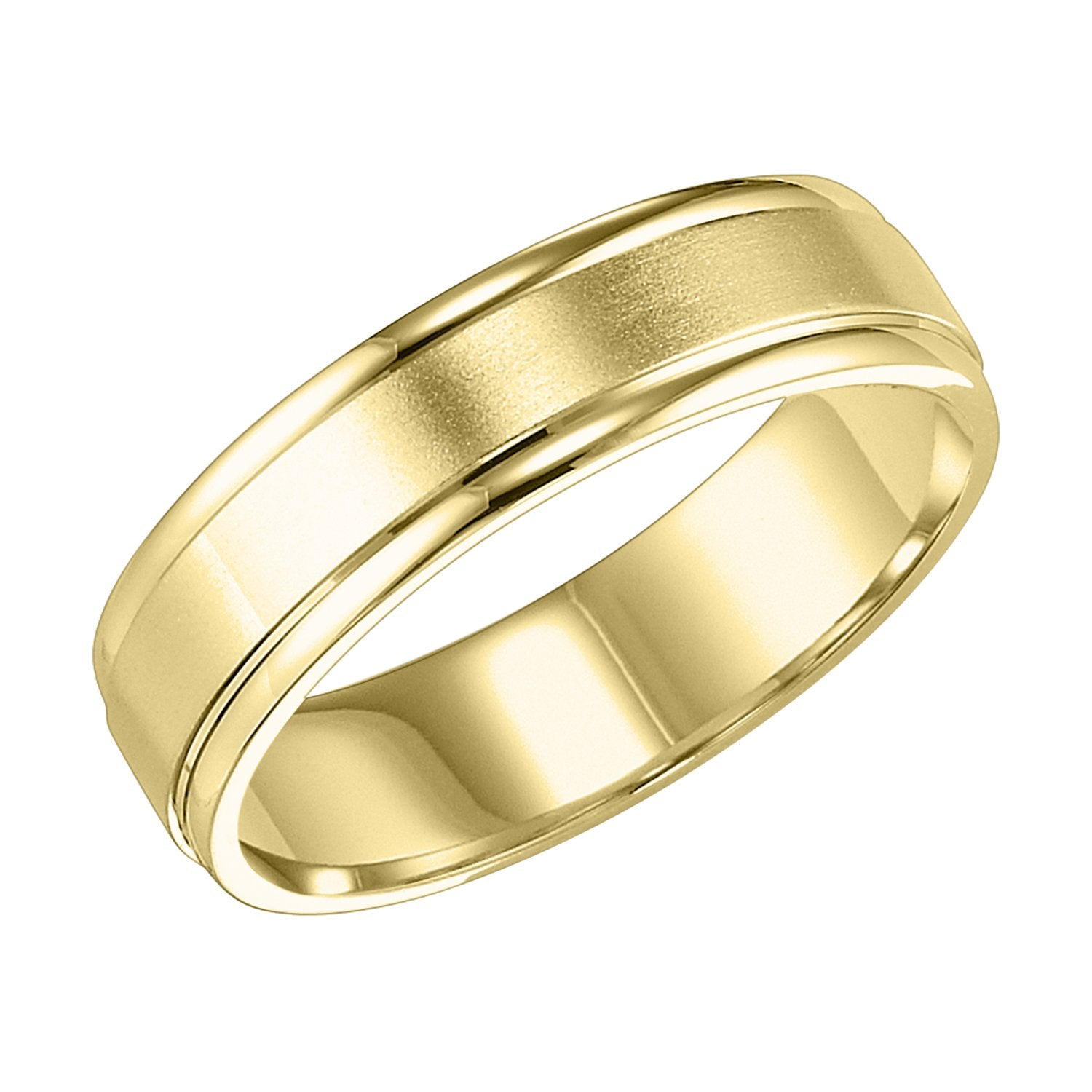 14k Yellow Gold 6mm Wide Mens 3 Band Style Wedding Ring Mullen