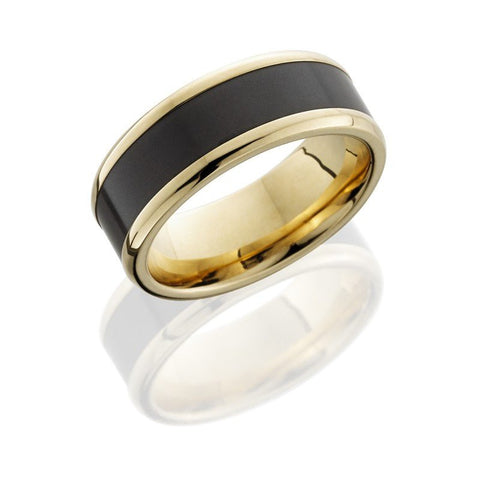 wedding 14k yellow gold 8mm wide wedding band with elysium inlay - Mens Gold Wedding Ring