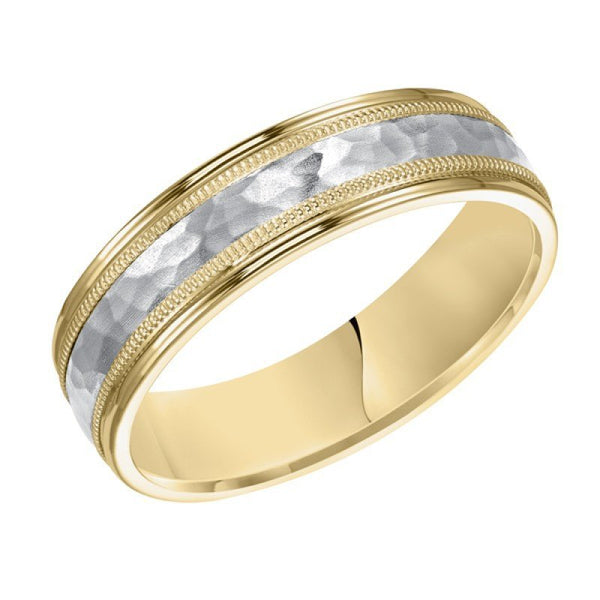 18k Yellow Gold And Platinum 6mm Wide Mens 3 Band Style Hammered