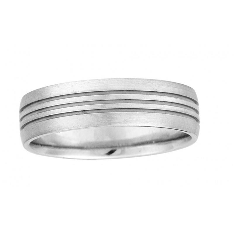 6mm Wide Mens Wedding Band With Brushed Finish And 3