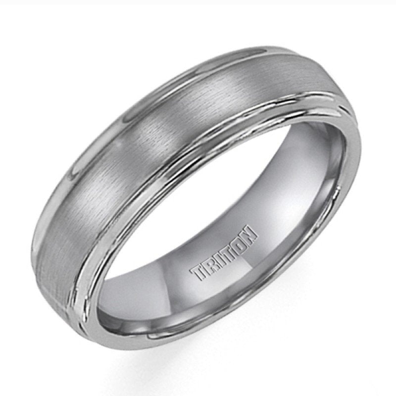 6mm Wide Mens White Tungsten Wedding Band With Raised