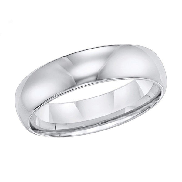 6mm Wide Polished White Tungsten Mens Wedding Band