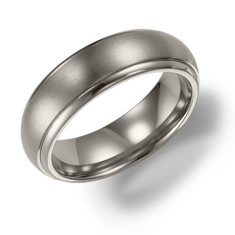 wedding 6mm wide titanium mens wedding band with domed raised center - Titanium Mens Wedding Rings