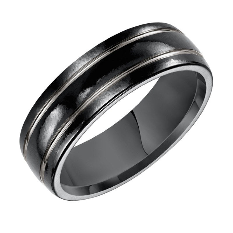 Merveilleux WEDDING   7mm Wide Black And Traditional Titanium Mens Wedding Band