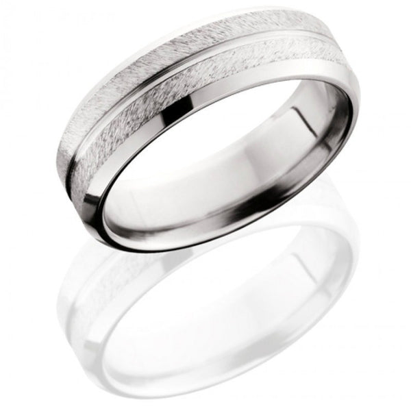 9mm Width with Comfort Fit Flat Profile Mens Titanium Offset Deer Track Wedding Ring