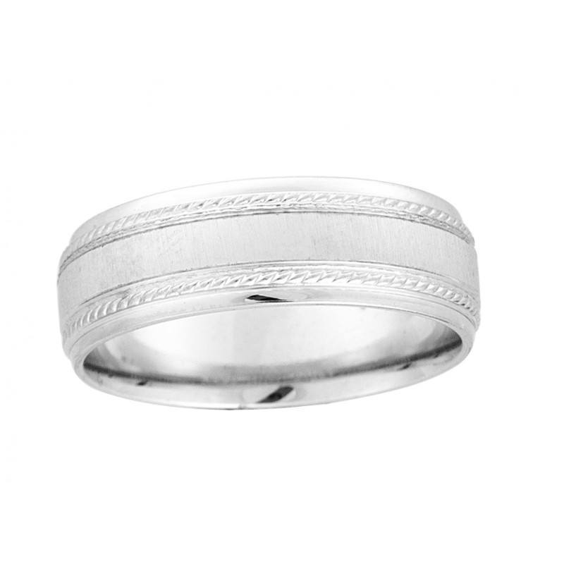 7mm Wide Mens Gold Wedding With A Brushed Finish Center