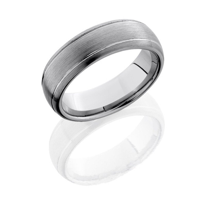 7mm wide mens wedding band, half round with two grooves