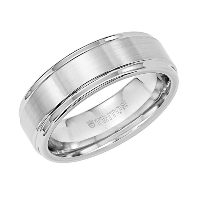 wedding 7mm wide white tungsten carbide mens wedding band with raised center - Tungsten Mens Wedding Rings