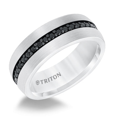 WEDDING - 8mm Black Sapphire And White Tungsten Carbide Eternity Wedding Band