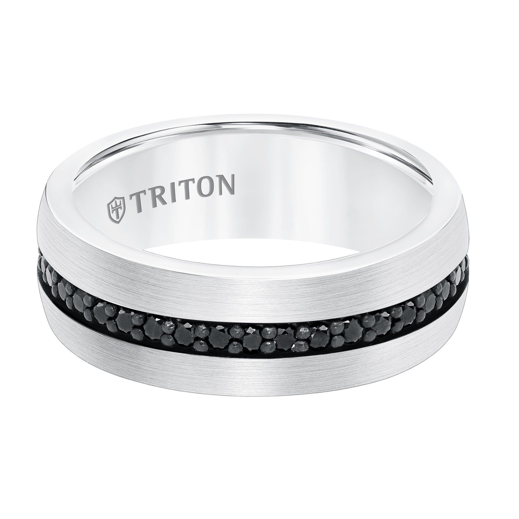tungsten sapphire black white band in mens wedding triton