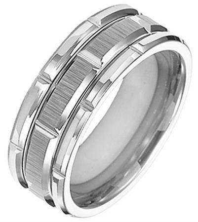 wedding 8mm tungsten carbide wedding band with diamond cut satin finish - Tungsten Carbide Wedding Rings