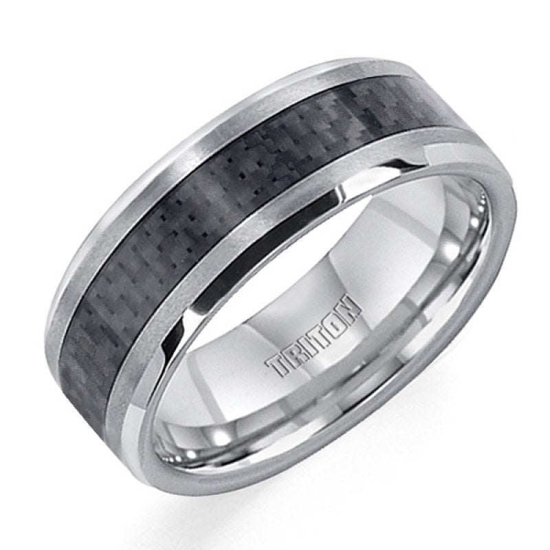 8mm wide tungsten carbide mens wedding band with carbon fiber inlay