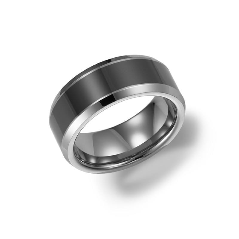 8mm wide tungsten carbide mens wedding band with ceramic inlay Mullen Jewelers