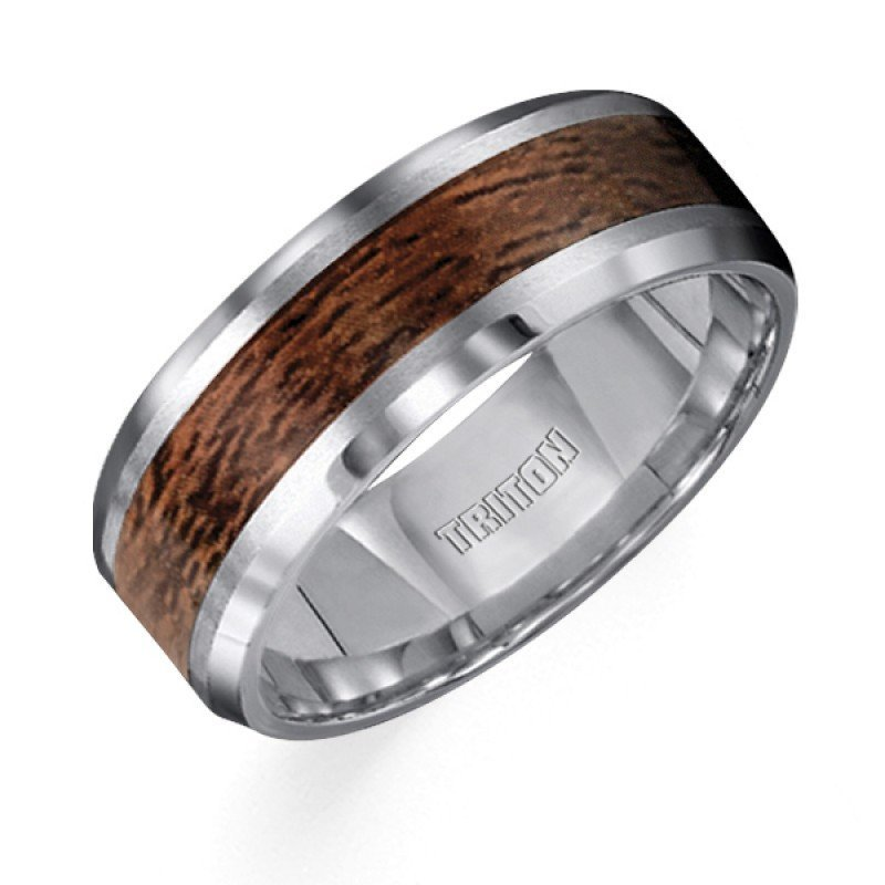 8mm Wide Tungsten Carbide Mens Wedding Band With Wood Grain Inlay