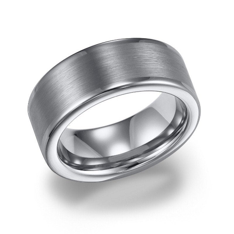 wedding 8mm wide white tungsten mens wedding band with brushed finish - Tungsten Mens Wedding Rings