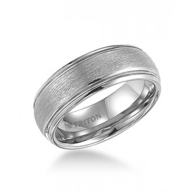 WEDDING   8mm Wide White Tungsten Mens Wedding Band With Brushed Finish