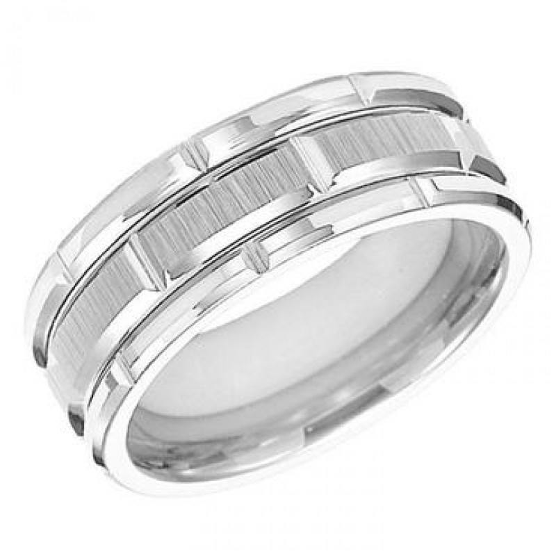 WEDDING   8mm Wide White Tungsten Mens Wedding Band With Diamond Cut Satin  Finish