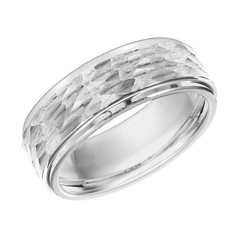 wedding 8mm wide white tungsten mens wedding band with hammered finish - Tungsten Mens Wedding Rings