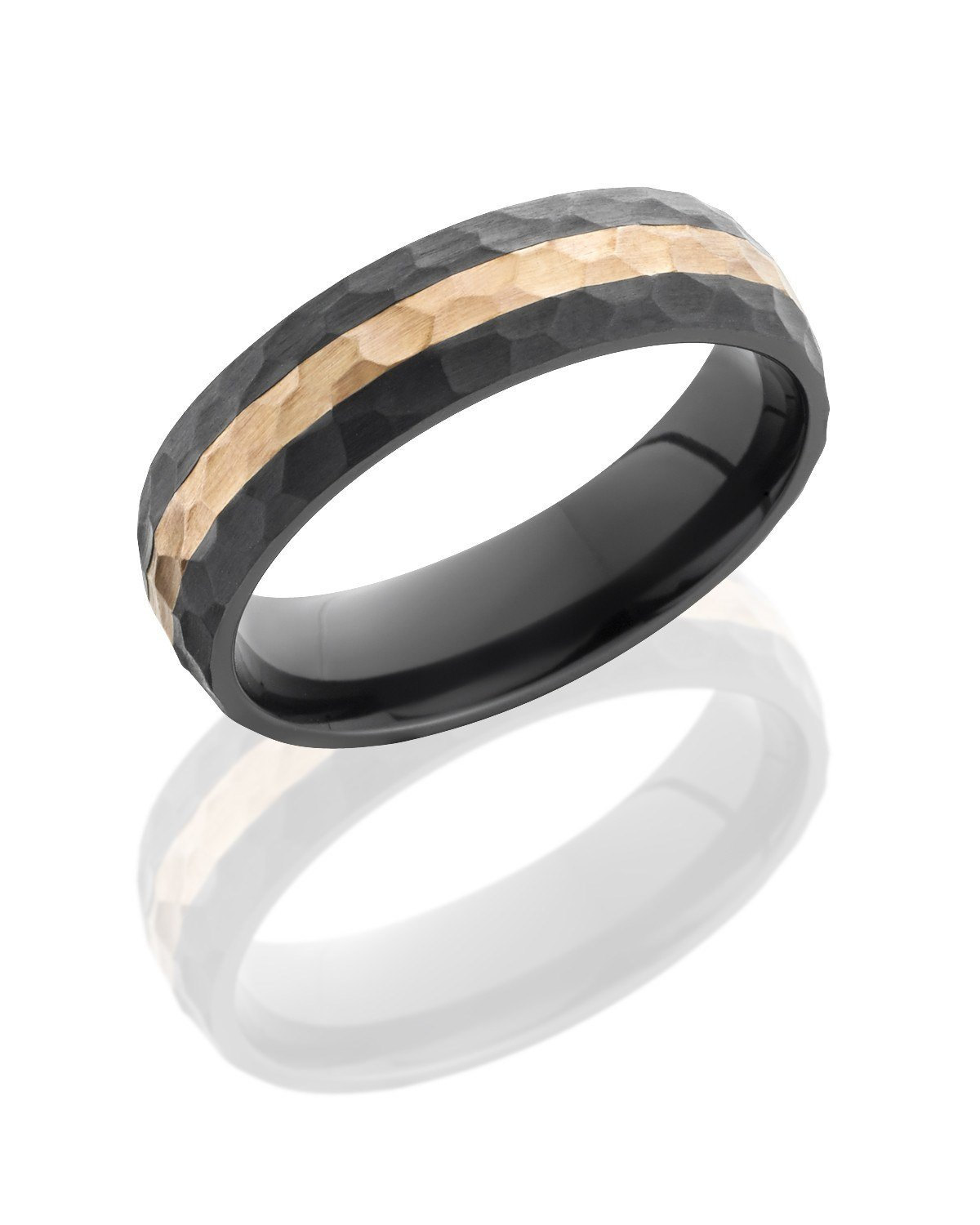 Black Zirconium 6mm Hammered Wedding Band With Rose Gold Mullen Brothers