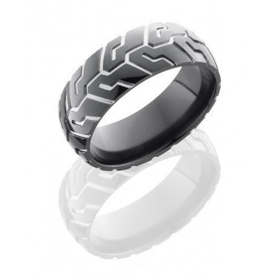 WEDDING - Black Zirconium 8mm Mens Domed Tire Tread Wedding Band
