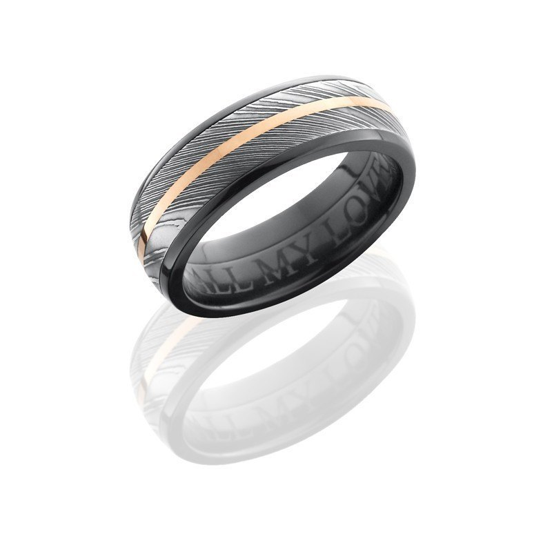 Titanium with Rose Gold Inlay Stripes Wedding Band Mens Ring