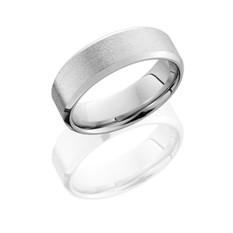 Cobalt Chrome 6mm Wide Beveled Wedding Band With Stone