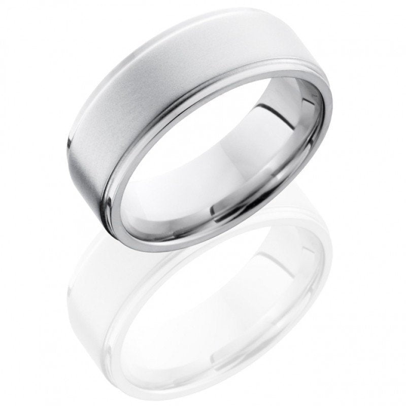 Cobalt chrome 8mm flat with grooved edge mens wedding band - Mullen ...