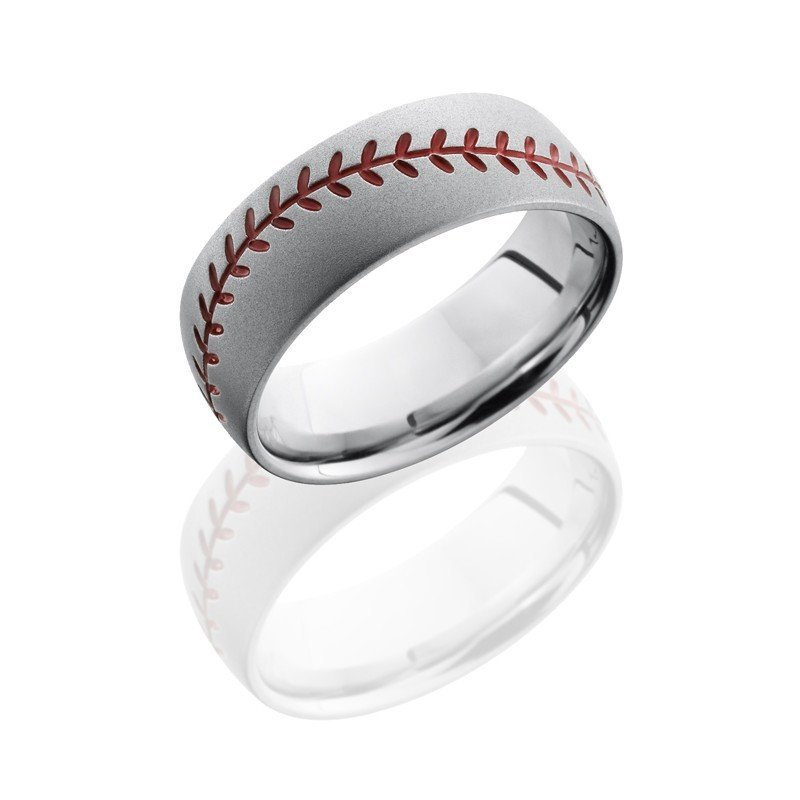 wedding cobalt chrome 8mm wide baseball design wedding band with red stitch pattern - Design Wedding Ring