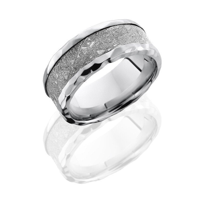 wedding cobalt chrome 9mm wide meteorite wedding band with rock polish edges - Meteorite Wedding Ring