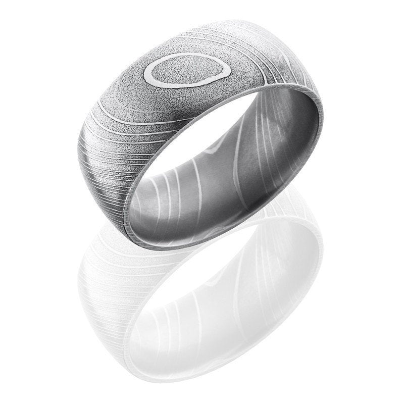 wedding damascus steel 10mm wide domed wedding band - Damascus Wedding Ring