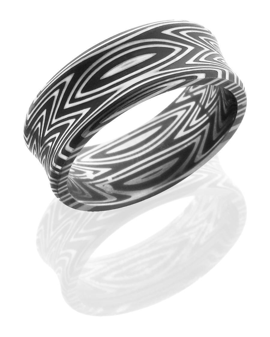 wedding damascus steel 8mm wide concave wedding band with a zebra stripe pattern - Damascus Wedding Ring