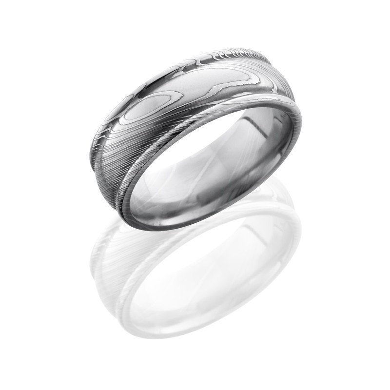 wedding damascus steel 8mm wide domed wedding band with rounded edges - Damascus Wedding Ring