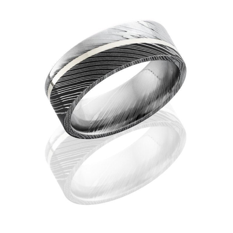 wedding damascus steel 8mm wide wedding band with 1mm angled sterling silver strip - Damascus Wedding Ring