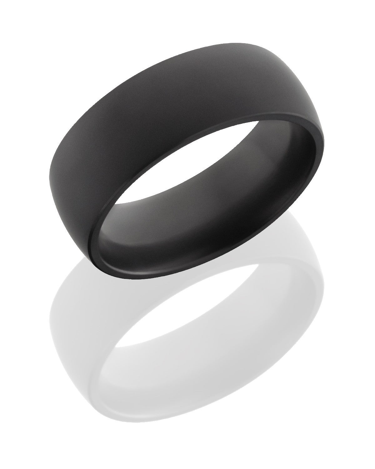 Elysium 8mm Wide Solid Diamond Domed Wedding Band with Matte Finish