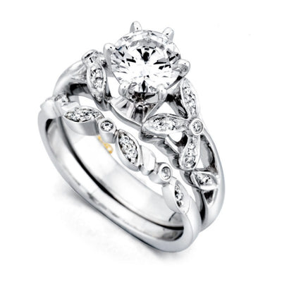 WEDDING - Mark Schneider Adore Bead Set Floral Diamond Wedding Band