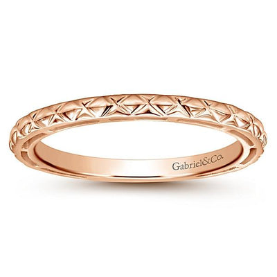 Wedding Ring - 14K Rose Gold Engraved Stackable Ring
