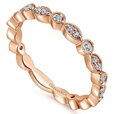 Wedding Ring - 14K Rose Gold Marquise Shaped Stackable Round Diamond Ring