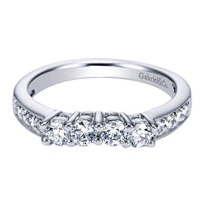 Wedding Ring - 14K White Gold 1/2cttw Contoured Diamond Wedding Band