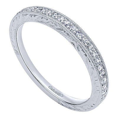Wedding Ring - 14K White Gold .19cttw Bead Set Diamond Wedding Band With Engraved Shank