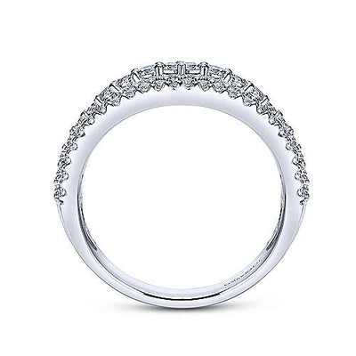 Wedding Ring - 14K White Gold .70cttw Triple Row Diamond Wedding Ring