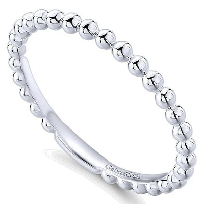 Wedding Ring - 14K White Gold Beaded Metal Design Stackable Band