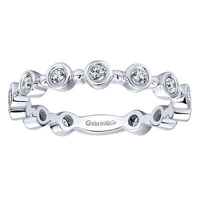 Wedding Ring - 14K White Gold Bezel Set Diamond Stackable Ring