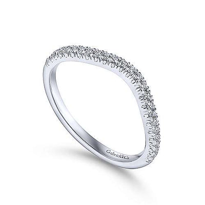 14K White Gold Contoured Diamond Wedding Ring