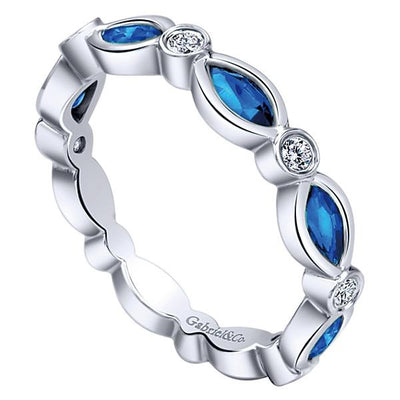 Wedding Ring - 14K White Gold Diamond And Marquise Sapphire Stackable Ring