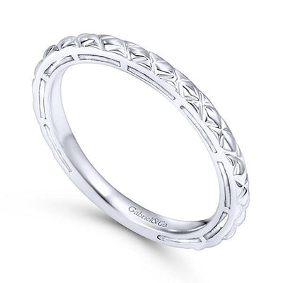 Wedding Ring - 14K White Gold Engraved Stackable Ring