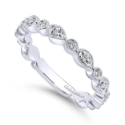 Wedding Ring - 14K White Gold Pear Shaped Stackable Diamond Ring